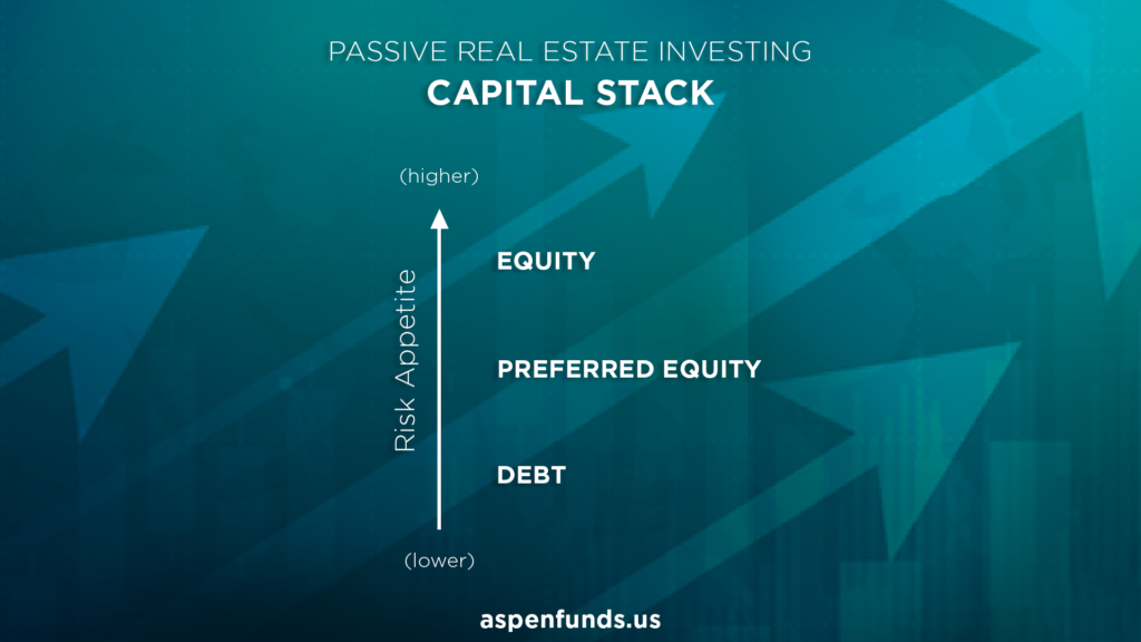 Capital stack of passive real estate investments